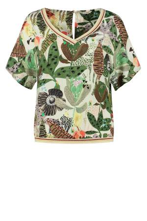 POM Amsterdam Top overig POM Amsterdam SP6538 Jungle beats ecru
